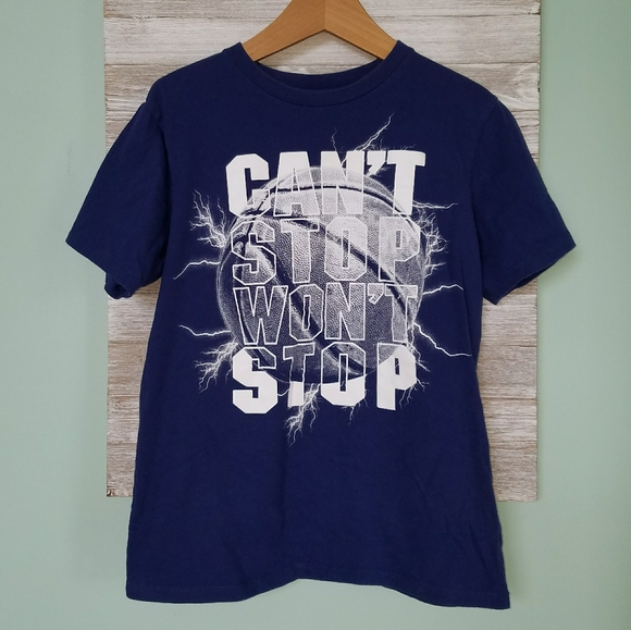"""4 For $15 PLACE Blue """"Can't Stop Won't Stop"""" Tee"""